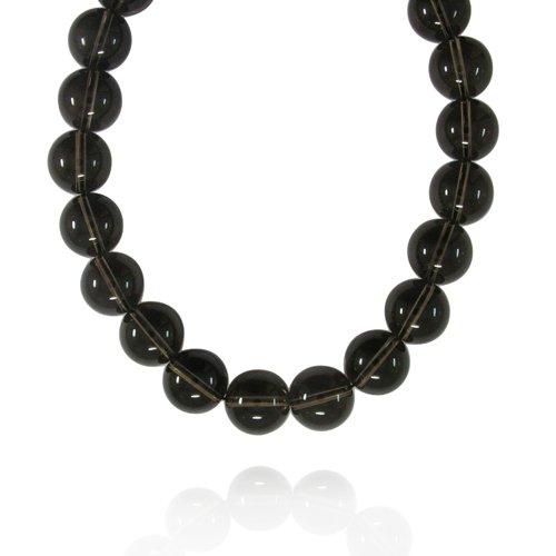 16mm Plain Round Smoky-Quartz Bead Necklace, 18+2