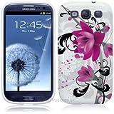 Samsung Galaxy S3 i9300 Wei� / Lila / Schwarz H�lle Blume Lila. Schutzh�lle TPU Silikon Case f�r Samsung Galaxy S3 i9300