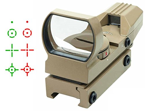 """Ultimate Arms Gear Tactical Tan Multi 4 Reticle Red & Green Dot Open Tubeless Reflex Scope Sight Adjustable Brightness With Weaver-Picatinny 7/8"""" Rail Mount"""