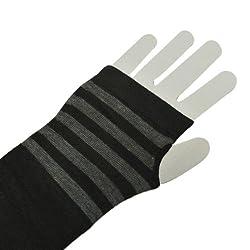 Wrapables Striped Arm Warmers, Black & Grey