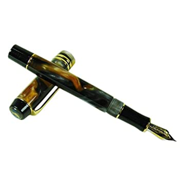 Lanxivi® Kaigelu 316 Fountain Pen Century Stars Tiger Eye Color Celluloid Pen M Nib with Pen Pouch