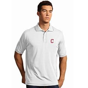 Cleveland Indians Elite Polo Shirt (White) by Antigua