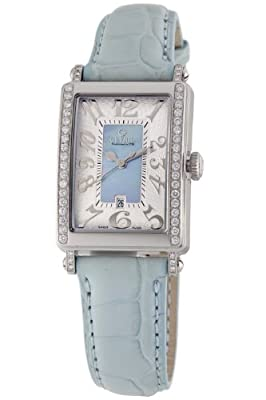 Gevril Women's 8247NE Super Mini Quartz Blue Mother of Pearl Diamond Watch
