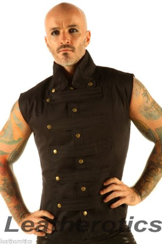 New Mens Steampunk Military Waistcoat Vest Top Mandarin Collar Guard Snap SPA1 (Small)