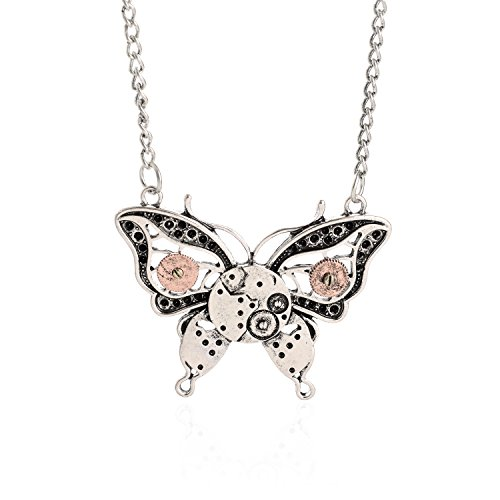 AOLO-Antique-Silver-Butterfly-Gear-Enbeded-Pendant-Steampunk-Necklace