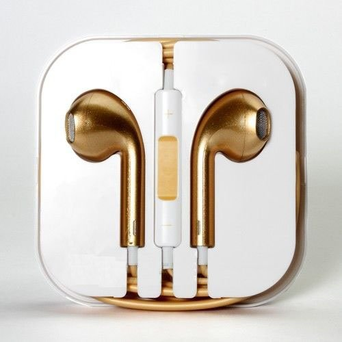 New Headset Headphones Earphones Volume Remote+Mic For Apple Iphone 4 4S 5 5S 5C (Whd471-1 Gold)