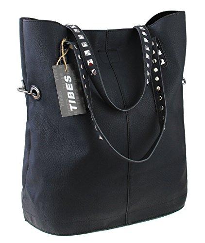 Tibes borse impermeabili borsa a tracolla grande delle donne Nero