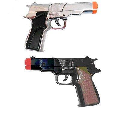 Toy Cap Gun: Set Of 2 Police Detective 45 Style Pistols (1 Black 1 Silver Plastic) front-1029269