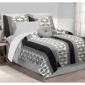 Gray Black White Boys Teen Full Size 5 Piece Comforter Set Pillow