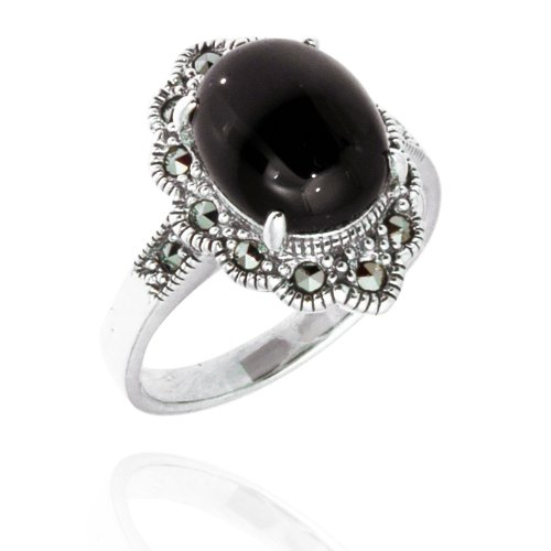 925 Oxidized Sterling Silver Flower Marquise Ring Swarovski Marcasite & Black Onyx Ring Size 7,8