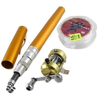 Como Gold Tone Pen Shape 7 Sections Telescopic Pocket Fishing Rod from Como