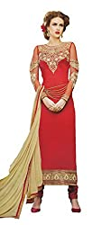 Namrah Collection Women's Georgette Embroidered (11604, Red)