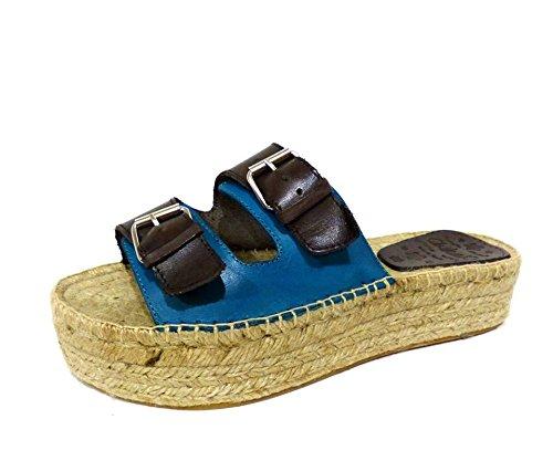 Chika10 Chicago 02 sandali ciabatte zeppa in corda con due fibbie marrone e blu n° 38