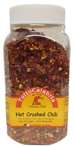 Tutto Calabria Hot Crushed Calabrian Chili Peppers 250 Grams (8.81 oz) Shaker Jar (Calabrian Chilies compare prices)