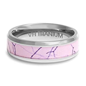 Viable Harvest - Pink Camo Ring Wedding Band - 6mm Titanium (size 8) by Viable US LLC,