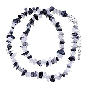 Pugster Genuine Ultra Semi Precious Gemstone Nugget Chips Stretch Necklace For Women