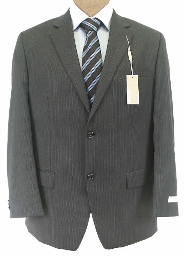 Michael Kors Mens 2 Button Flat Front Charcoal Gray Pinstripe Wool Suit