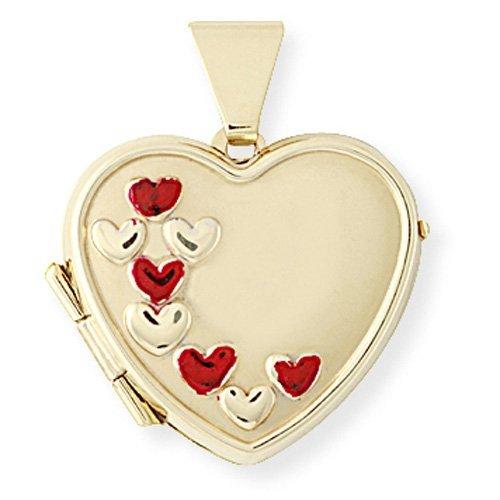 9ct Gold Enamelled Heart Locket