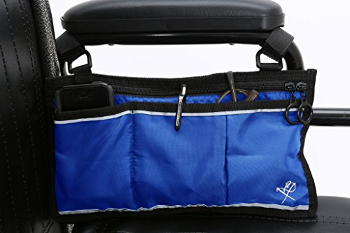 Pembrook Wheelchair Side Bag - Blue - Great Accessory for your mobility devices. Fits most Scooters, Walkers, Rollators - Manual, Powered or Electric Wheelchairs