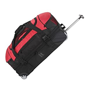 It Luggage Black And Red Split Base Wheeled Holdall 10 Year Guarantee