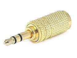 Metal 3.5mm Stereo Plug to 3.5mm Mono Jack Adaptor - Gold Plated
