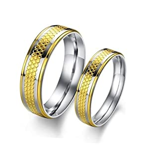 Lovejewelry Gold Color Stainless Steel Finger Ring Promise Ring Wedding Bands (5, Ladies' Ring)