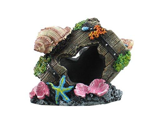 FixtureDisplays Ancient Barrel ruins Sea Shell Ornament for Aquarium Fish Tank Decoration 12182 12182