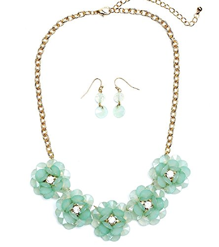 Heirloom Finds Mint Green Jumbo Bloom Bib Necklace & Earrings With Crystals