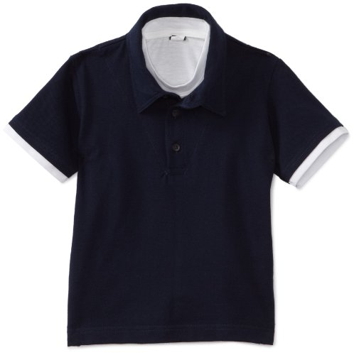 U.S. Polo Assn. School Uniform Little Boys' Short Sleeve Pique 2-Fer Polo, Navy, 5/6