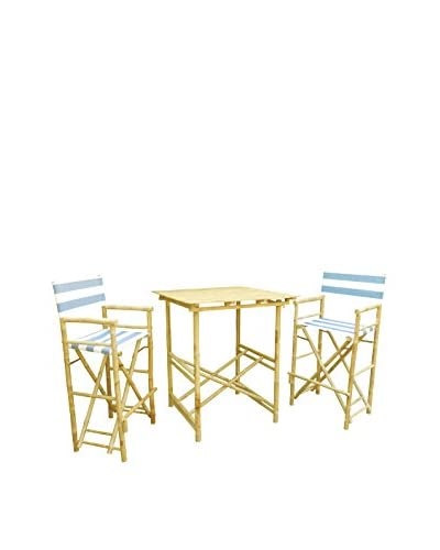 ZEW, Inc. High Table & Director Chair Set, Navy/White Stripes