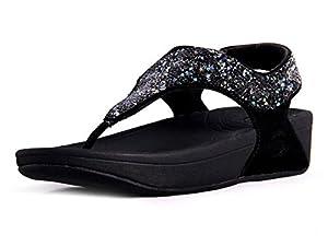FitFlop's Women's Rock Chic S Sandal,Black,36-37 M EUR/6 B(M) US