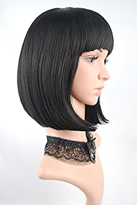 """eNilecor Straight Short Bob Wigs 14"""" with Flat Bangs Cosplay Hair Wig for Women Natural As Real Hair"""