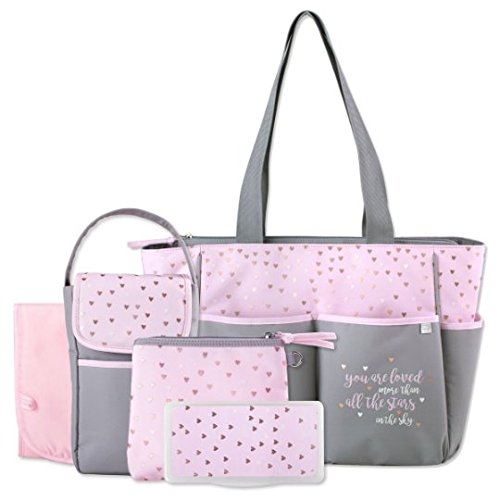 Personalized 5 in 1 Diaper Bag Set Premium Diaper Bag | Baby Tote Bags -Free Monogram/Name Embroidered | Ideal for Gift | Baby Bag | Mommy Bag (Pink Stars)