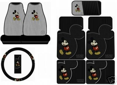 Mickey Mouse Vintage 8PC Combo Front Rear Car Floor Mats Seat Covers Steering Wheel Cover CD Organizer Plus Bonus Matching Key Chain