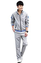 Mens Zip up Long Sleeves Casual Athletic Tracksuit Sports Sets Grey&blue XXL CC87B-N