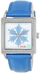 """The P.S. Collection by Arjang and Co. Women's HY-2020S-BL """"Ontario Snowflake""""  Mother Of Pearl Dial Blue Leather Strap Watch"""