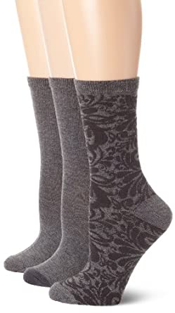 Nine West Women's 3 Pack Paisley Tipped Solid Crew Socks, Charcoal, One Size