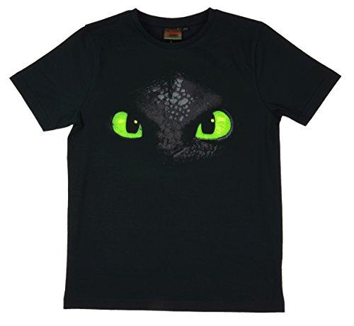 Dreamworks Dragons T-Shirt Toothless Sdentato faccia - Collo a U - ragazzo (11 - 12 Anni)