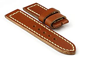 StrapsCo Thick Tan Brown Leather with Thick Stitching 24mm Watch Strap