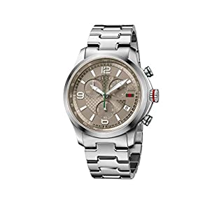 Gucci Men's YA126248 Gucci G-Timeless Chrono Analog Display Swiss Quartz Silver Watch