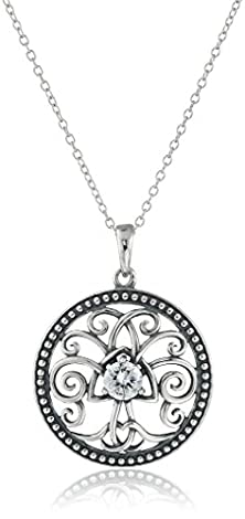 buy Sterling Silver Cubic Zirconia Oxidized Celtic Tree Of Life Pendant Necklace (0.46 Cttw), 18""