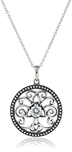 """Sterling Silver Cubic Zirconia Oxidized Celtic Tree of Life Pendant Necklace (0.46 cttw), 18"""""""