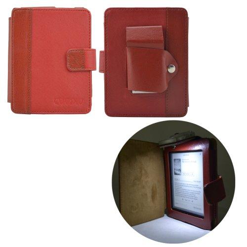 Coodio® KOBO Mini Premium Étui en cuir avec brillant lampe et en veille - élégant Rouge