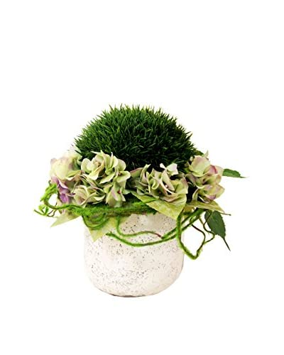 Creative Displays Grass Moss Ball & Hydrangeas in Ceramic Vase, Green/Pink