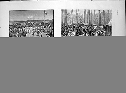 """Stampa Antica """"Del Campo 1890 di Inedia del Libro di Stanley delle Illustrazioni in Africa Più Scura"""""""