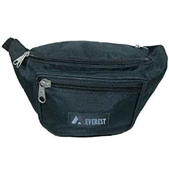 Everest Unisex Large Size Fanny Waist Pack, Black