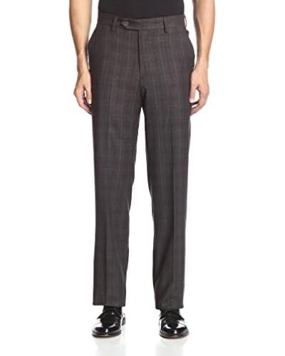 Berle Men's Windowpane Wool Flat Front Pant