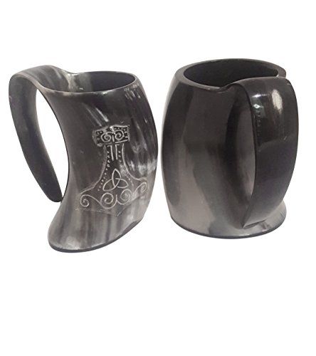 XL Vikings Hand Crafted Natural Drinking Glass With Thor's hammer engraving - Medieval replicated Mug comes with a FREE GIFT BOX - Horn Tumbler holds around 24 oz of Ale or liquid of your