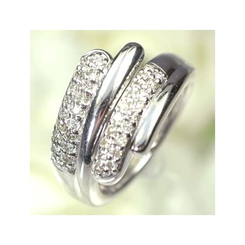 [キュートジュエリー]Cute jewerly ダイヤモンド 指輪 K18WG ダイヤモンド0.38ct ストレッチリング 13