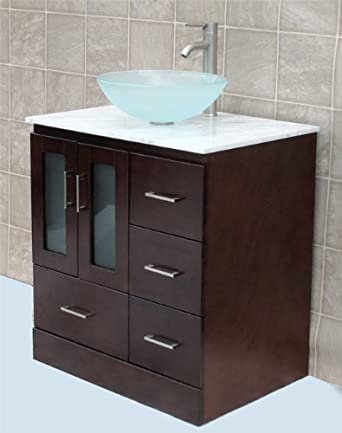 "Solid wood 30"" Bathroom Vanity Cabinet Glass Vessel Sink Faucet MO"